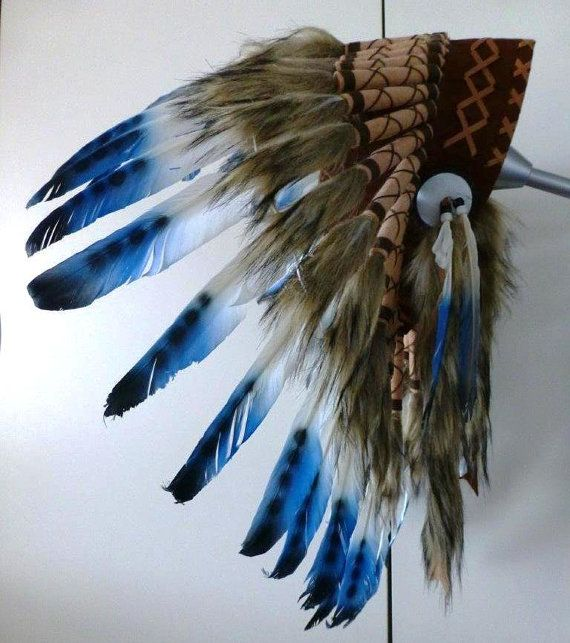 For Kid / Children: three colors blue Chief indian Feather Headdress / native american Warbonnet for the little ones ! Fun and Original