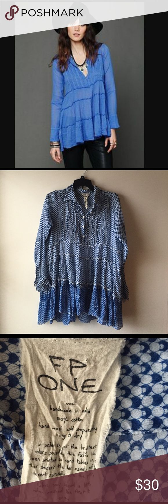 Free People tunic  🔷 EUC Free People FP One 100% cotton long sleeve patterned ombré  button up tuxedo tunic, light weight and flowy 🔷 Free People Tops Tunics