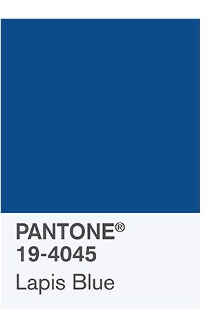 PANTONE 19-4045 Lapis Blue Conveying even more energy is Lapis Blue. Strong and confident, this intense blue shade is imbued with an inner radiance