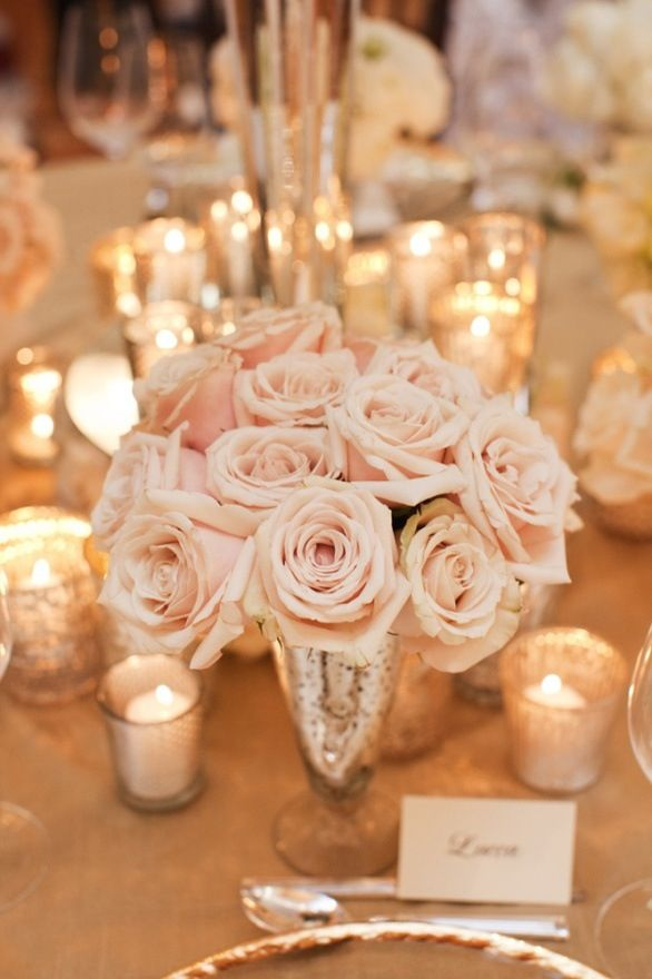 Roses and candlelight: Mercury Glasses, Idea, Tables Sets, Blushes Pink, Blushes Rose, Pale Pink, Pink Rose, Centerpieces, Flower