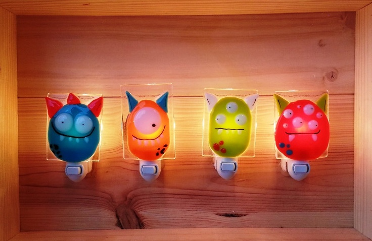 Nightlight, monster, fused glass, orange-red, baby room decoration, nursery, shower gift, kid room, children. $38.00, via Etsy.