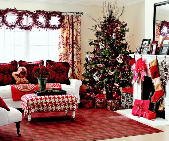 Living Room, Excellent Combination Fireplace In Living Room With Christmas Decoration Christmas Tree Featuring Red Nuance Carpet And White Puffy Sofabed With Cushion: Christmas Living Room Decorating Ideas
