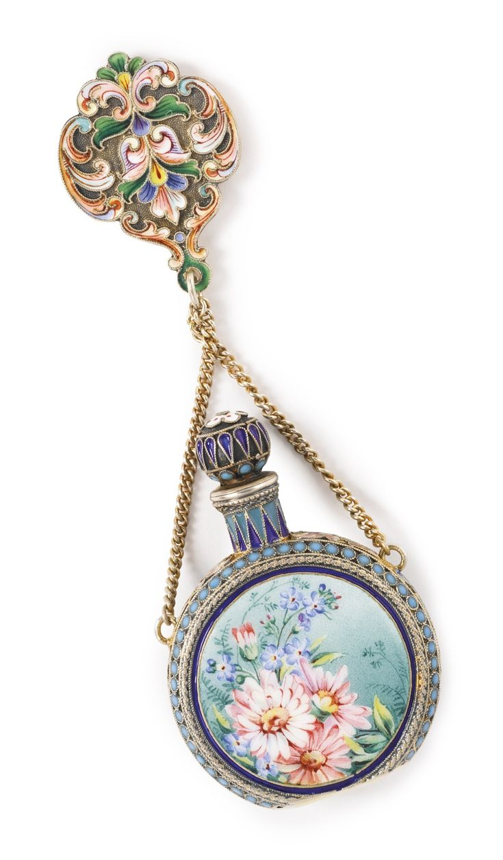 A Russian Gilded Silver and Pictorial Enamel Perfume Flask, Ivan Saltykov, Moscow, 1899-1908