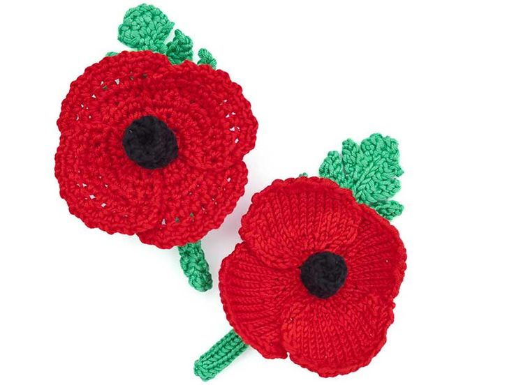 Knitted and crochet poppy