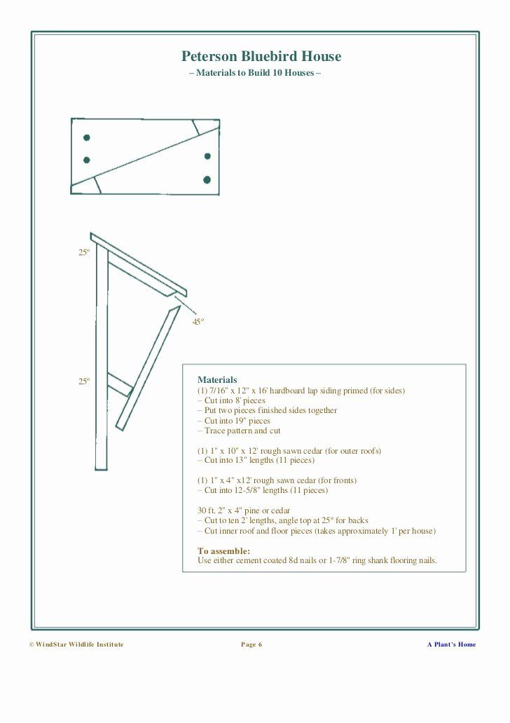 Peterson Bluebird House Plans Free Beautiful Building Nesting Boxes And Nesting Platforms In 2020 Bluebird House Plans Bluebird House Unique House Plans