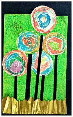 Kindergarten- Hunderwasser flowers Use texture plates for background