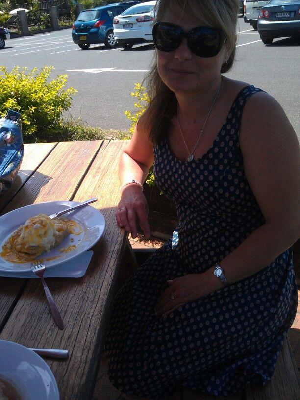 Charlotte attacking a Mango & Macadamian pancake stack @ Macadamia Castle Feb 2014
