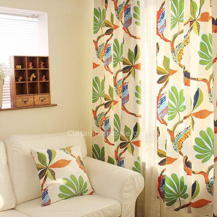 Japanese Orange Punching Printed Discount Modern Eyelet Curtains