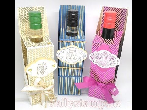 Mini Wine Bottle Box. Ideal for a birthday, thankyou or a favour. Independent Stampin' Up!® Demonstrator UK.