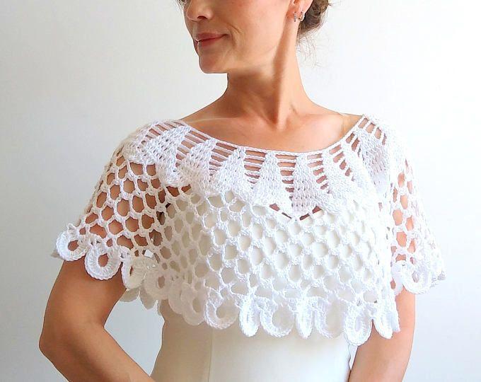 A la venta, capa blanco, cabo de la boda, poncho de encaje, capa nupcial, poncho de ganchillo, cabo blanco, envío rápido, listo para enviar.