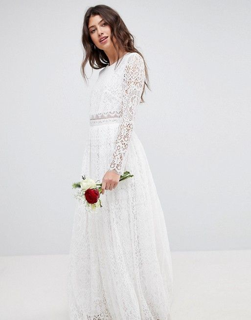 816cd184f08f $190 ASOS EDITION | ASOS EDITION Lace Long Sleeve Crop Top Maxi Wedding  Dress
