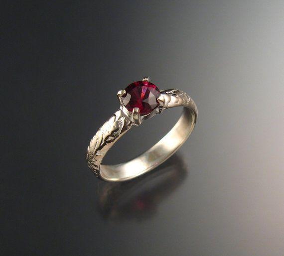 Natural Raspberry Rhodolite Garnet Wedding ring 14k  wedding band?