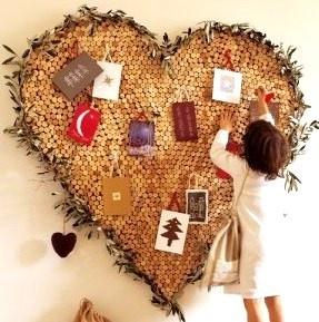 Tableau coeur réalisé en bouchons de liège..