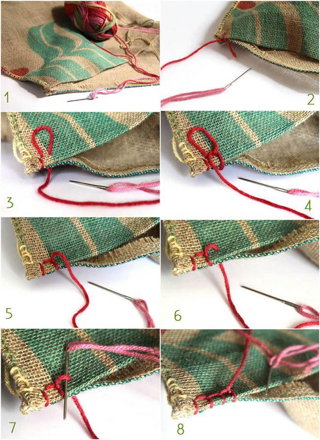 DIY Burlap Coffee Bag Ottoman - A Piece Of Rainbow