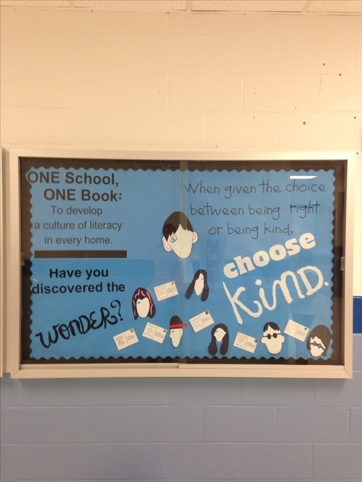Wonder by R.J. Palacio bulletin board. One school One book. #literacy #osob