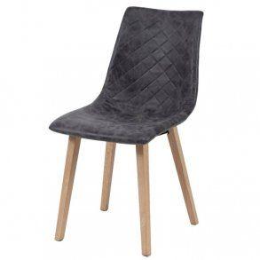 Zagg - spisebordsstol i træ og sort læder