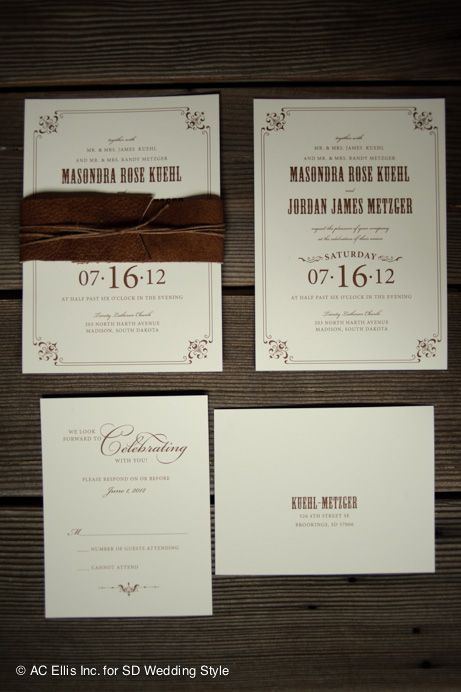 South Dakota Rustic Styled Wedding Invitations