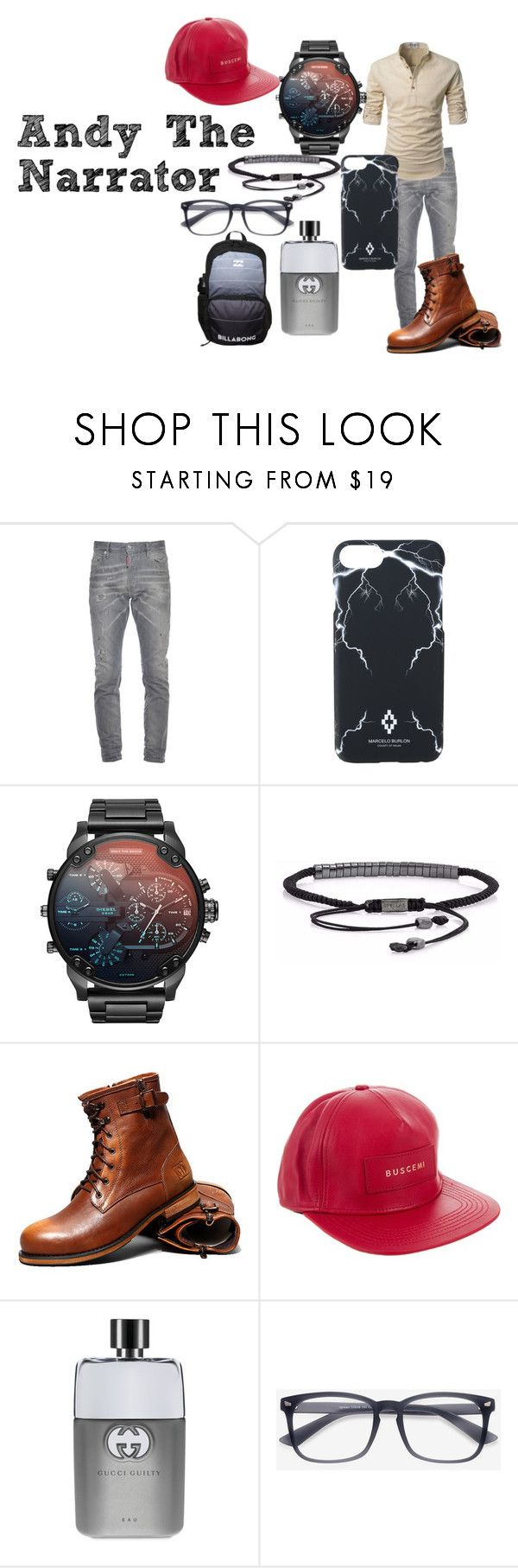 """Andy"" by bethecaptain on Polyvore featuring Dsquared2, Marcelo Burlon, BUSCEMI, Gucci, EyeBuyDirect.com, Billabong, men's fashion and menswear"