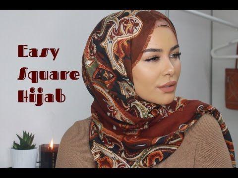 Easy Square Hijab Tutorial - YouTube