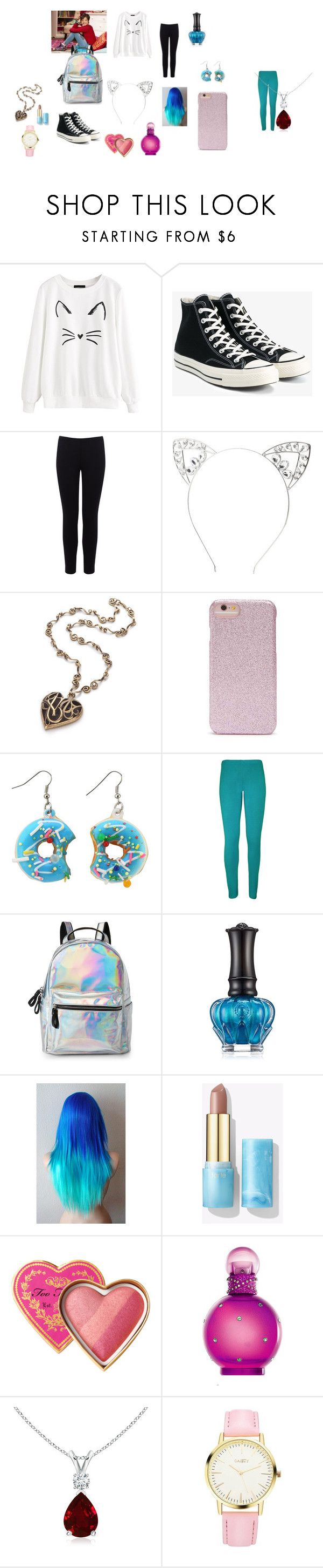 """disi"" by queen-olmos on Polyvore featuring Converse, Warehouse, Charlotte Russe, Forever 21, WearAll, IMoshion, Anna Sui, Too Faced Cosmetics, Britney Spears e men's fashion"