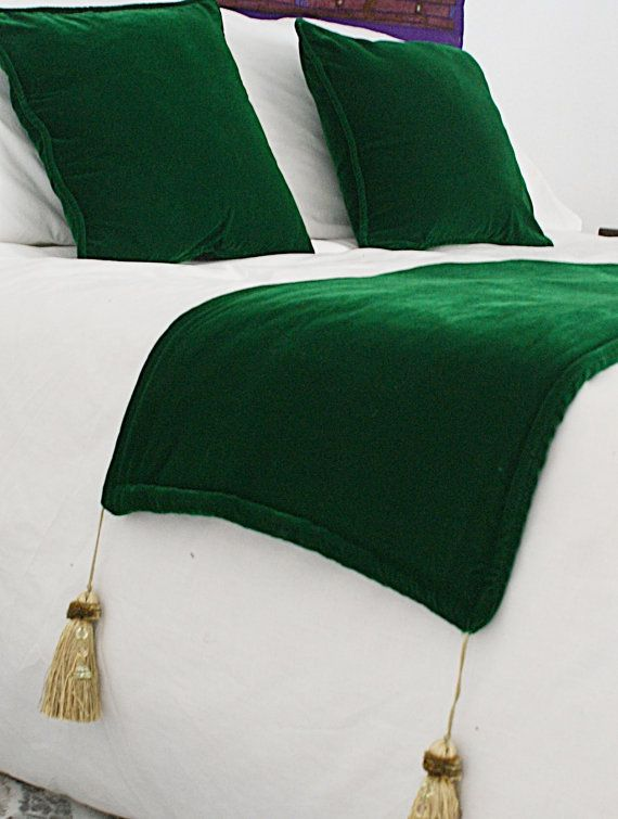 Two handmade piped pillow throws/cushions and a matching bed runner in thick green velvet with tassels by Just Morocco at Etsy