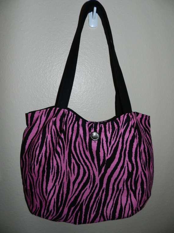 Pink and Black Zebra print Pleated bag by FAVAsDesigns on Etsy, $30.00