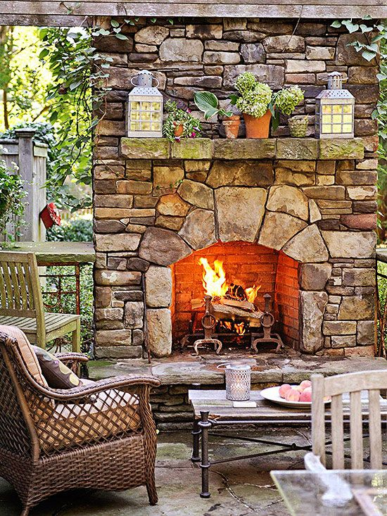 Relaxing Backyards: A fireplace doesn't just have to be in your home, imagine how cozy this would be on a cool fall evening.