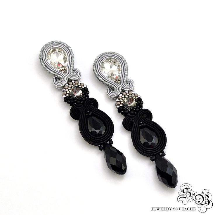 Long Dangle Earrings, Black Silver Earrings, Clip on earrings, Soutache Earrings, Beading Earrings, Orecchini Soutache, Ohrringe soutache by SBjewelrySoutache on Etsy