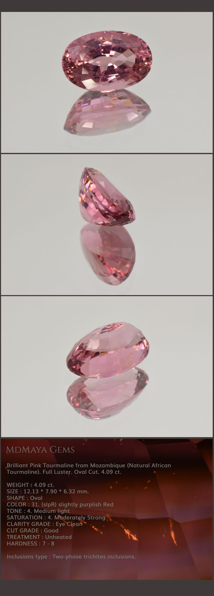Brilliant Pink Tourmaline from Mozambique (Natural African Tourmaline). Full Luster. Oval Cut. 4.09 ct.  Loose Gemstones for sale MdMaya Gems
