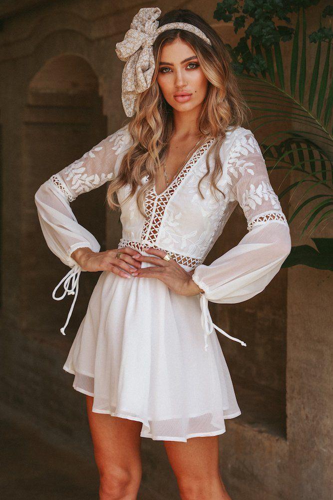 Long Sleeve Bohemian White Dress