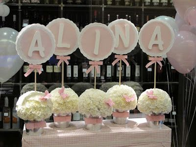 Baptism ~ Joint Boy/Girl ~ Decorations ~ Names | Pink for Adaya's present table and Blues for Julian's present table.