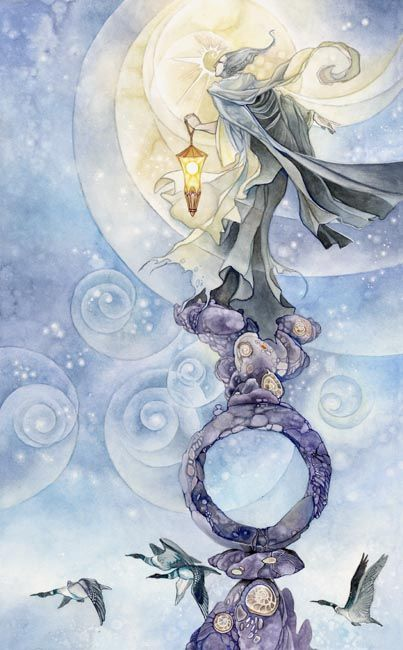Hermit - Being introspective, seeking, solitude and withdrawing from the world, giving or receiving guidance. Stephanie Pui-Mun Law - Shadowscapes Tarot