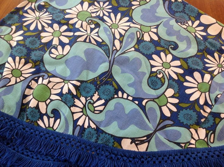1960's Mod Flower Power And Butterfly Oval Tablecloth With Fringe. Very Groovy by MCMLX on Etsy