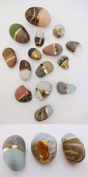 Piedra pintar dorado oro color Más