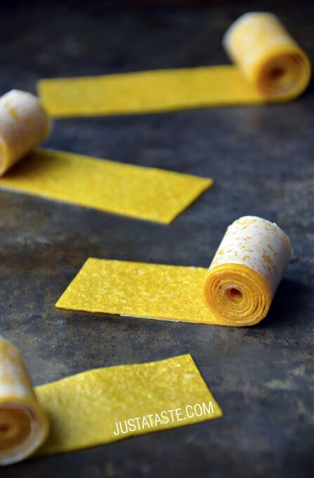These Mango Fruit Roll-Ups only involve one ingredient! Puree ripe mangoes and bake at a low temperature to get the adult version of this leather fruit snack.