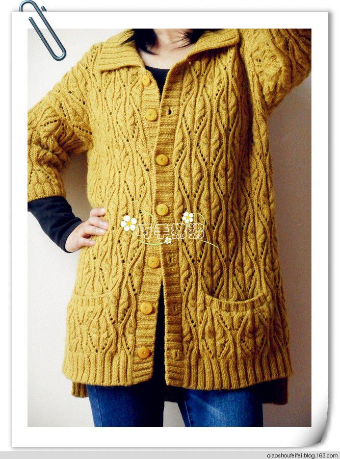 依偎~~~志田花样的宽松方领开衫 - 巧手狒狒 - 狒狒的编织小屋