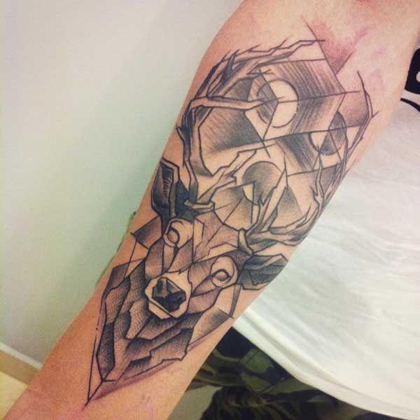 geometric deer tattoo tumblr