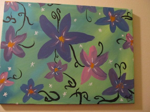 one of a kind  Floral acrylic  Painting by RandomWishes32 on Etsy