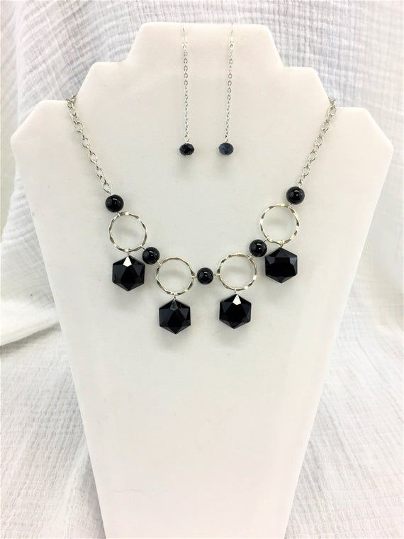 Black Beaded Necklace And Earrings Black Crystal Necklace