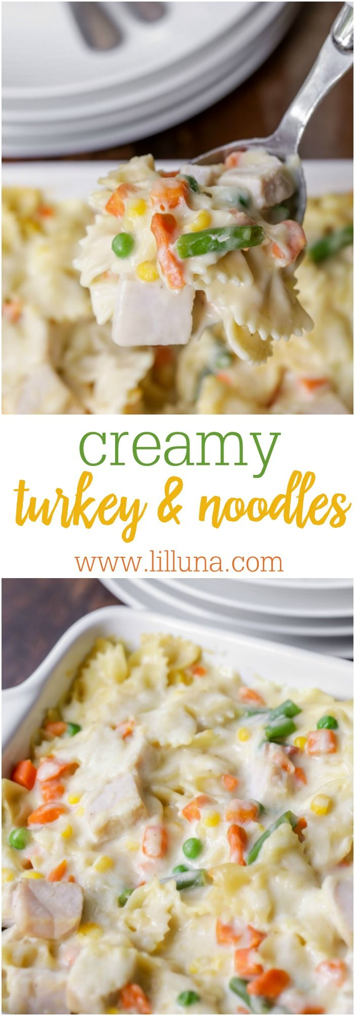 Creamy Turkey and Noodles - a simple, delicious dish that is perfect for dinner any night or perfect after Thanksgiving to help you use some of your leftover Turkey!!