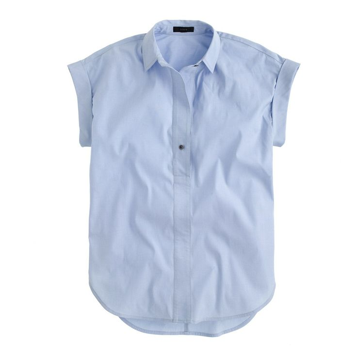 J.Crew Womens Tall Short-Sleeve Popover Shirt In Oxford Blue (Size 2 Tall)