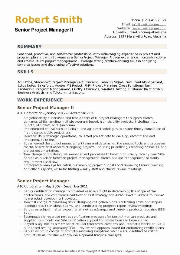 Project Manager Resume Pdf Unique Senior Project Manager Resume Samples Project Manager Resume Manager Resume Resume Pdf