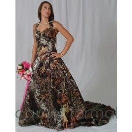 Short dress not long........     This camo formal can be worn as an informal wedding gown, prom or any other special occasion. Lots of accessories are available in Mossy Oak New Breakup camouflage.