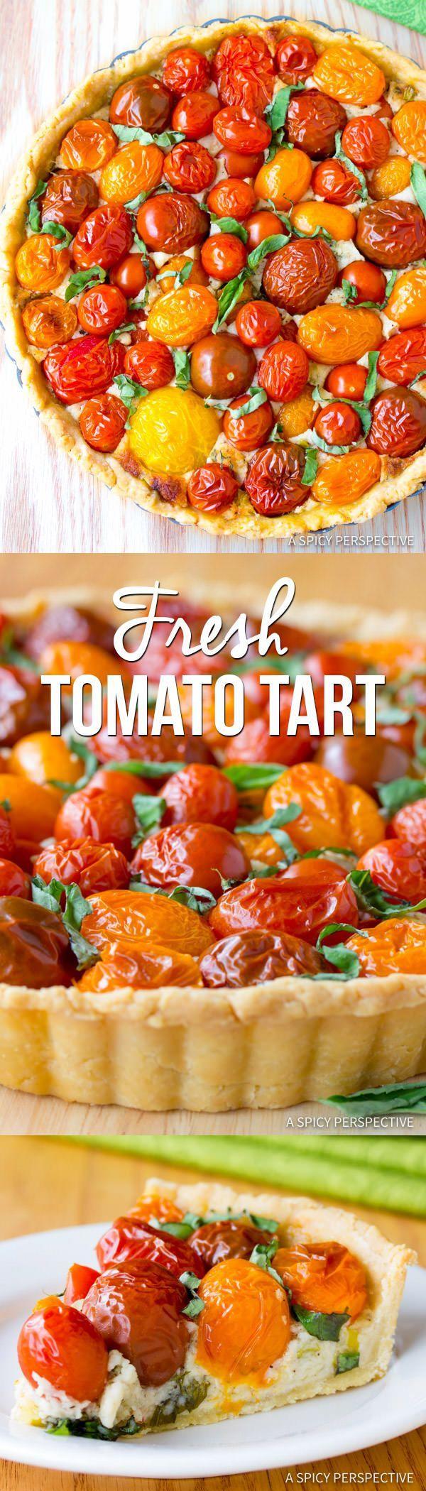 Perfect Southern Fresh Tomato Tart Recipe | http://ASpicyPerspective.com