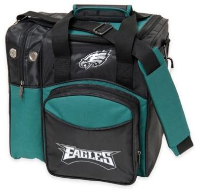 $39.99 - NFL Philadelphia Eagles Bowling Ball Tote Bag- Show off your team pride while throwing strikes with the NFL Bowling Ball Tote. Made of durable, strong fabric and features the primary color and logo of your favorite NFL team. Includes adjustable padded shoulder strap and extra pockets.