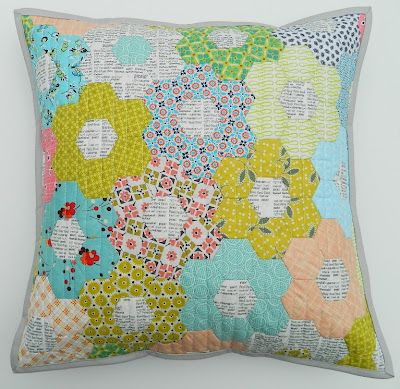 Text fabric in center of each hexagon.  Also uses some Hope Valley fabric - love, love, love.