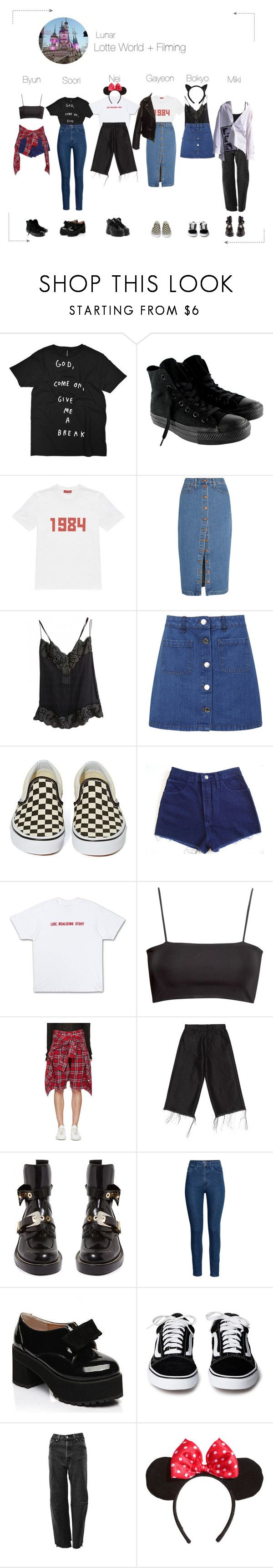 """Lunar (루나) Lotte World"" by lunar-official ❤ liked on Polyvore featuring Converse, Gosha Rubchinskiy, Madewell, Chanel, Miss Selfridge, Vans, H&M, R13, Marques'Almeida and Balenciaga"