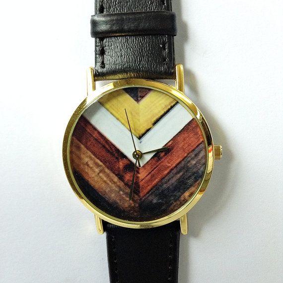 Wood Chevron Watch, Vintage Style Leather Watch, Women Watches, Unisex Watch, Boyfriend Watch, Black,