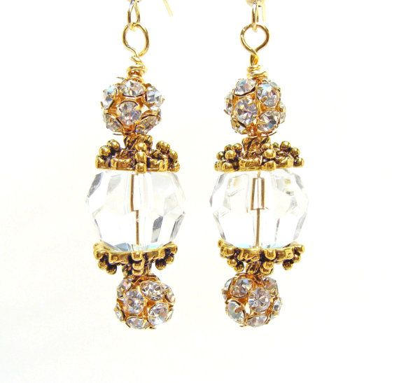 Faceted Crystal Earrings with Antique Gold Bead Caps~<3