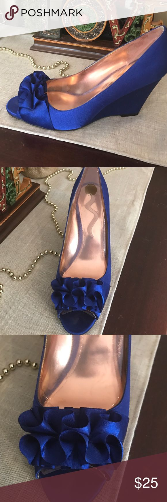 Beautiful Nina satin royal blue shoes Royal blue satiny, wedge heel shoe. Ruffle embellishment at peep toe.  Only worn once! Nina Shoes Wedges
